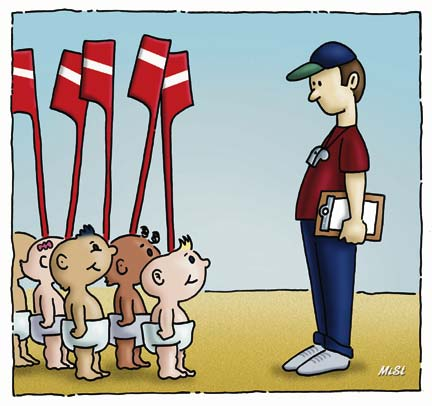 Cartoon Rowing Coach
