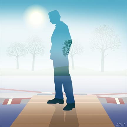 man in the fog illustration